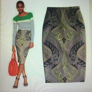 J. Crew pencil skirt in sovereign paisley, size 0